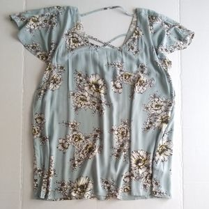 Maurices Floral Pastel Blue Floral Top